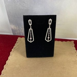 Gem Emporium Jewelry - Pink Sapphire and Micro Cubic Zirconia Earrings